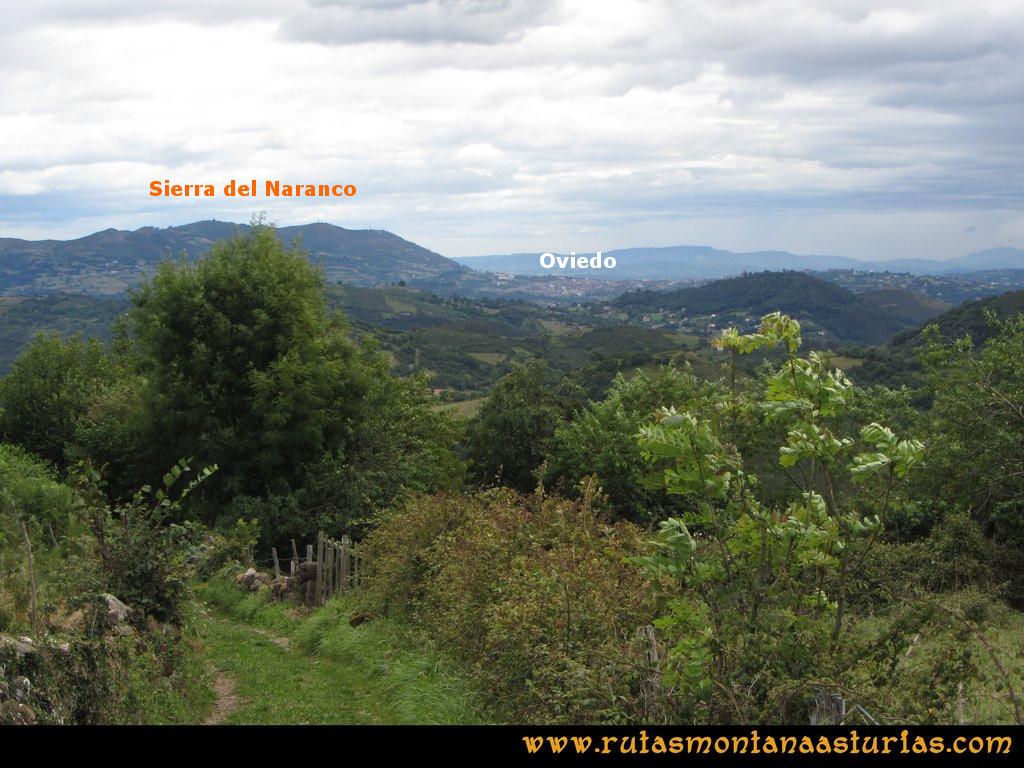 Ruta Cascadas Guanga, Castiello, el Oso: Vista la Sierra del Naranco y Oviedo
