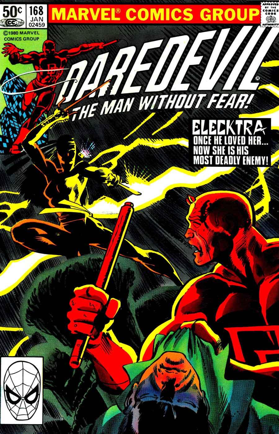Daredevil v1 #168 elektra marvel comic book cover art by Frank Miller