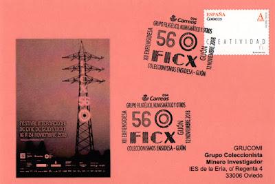 Tarjeta del GRUCOMI con matasellos conmemorativos del 56 Festival Internacional de Cine de Gijón del Grupo de Ensidesa