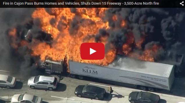 MFS-Viral Vids: Fire in Cajon Pass Shuts Down 15 Freeway + DRONES