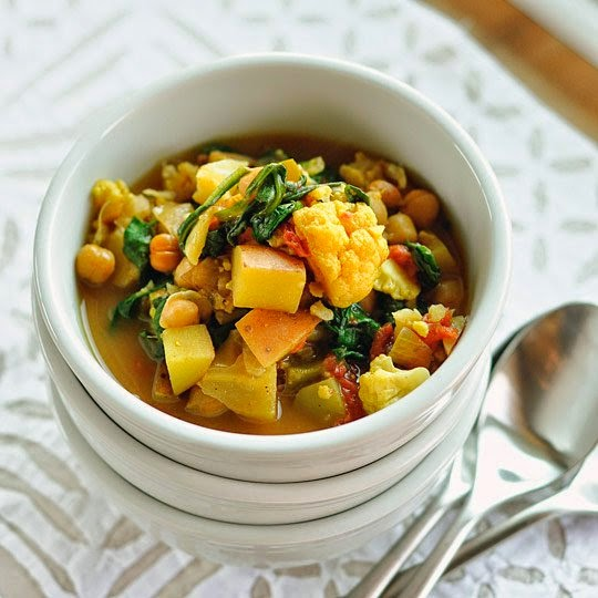 Slow Cooker Curried Vegetable and Chickpea Stew from The Kitchn featured on SlowCookerFromScratch.com