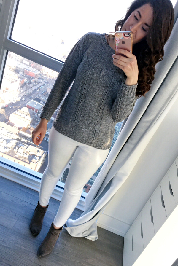 White Jeans, Gray Sweater - Neutral Early Spring Outfit 2017