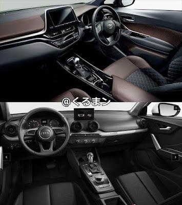 トヨタ C-HR アウディ Q2 内装インテリアの比較画像
