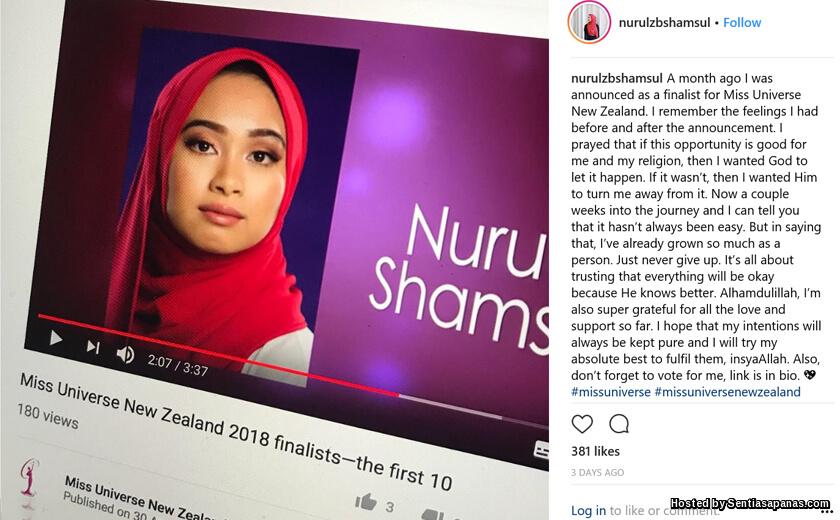Nurul Shamsul, Gadis Melayu Berhijab Pertama Sertai Miss Universe New Zealand