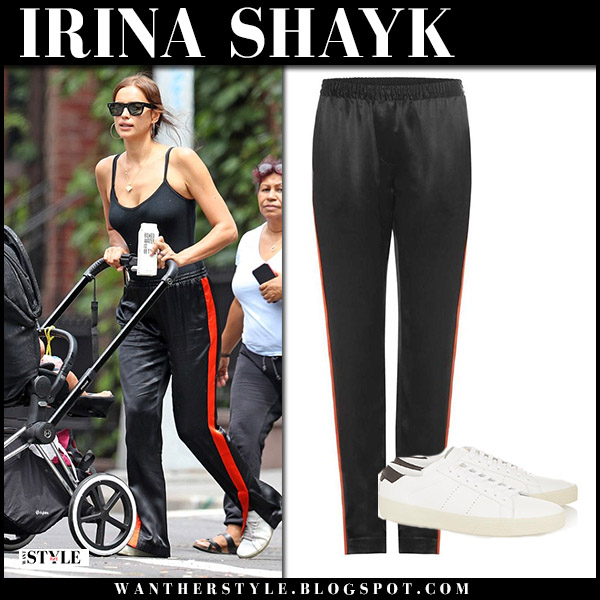 Irina Shayk in black givenchy track pants and sneakers saint laurent model street fashion july 27