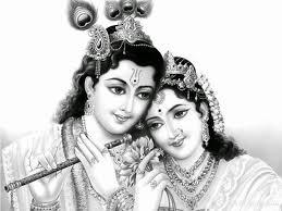 Radha Krishna Wallpaper In Black & White Background