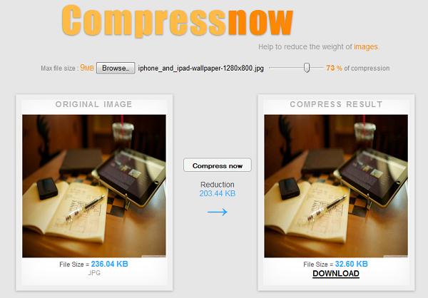 Compressnow – nén ảnh trên mạng