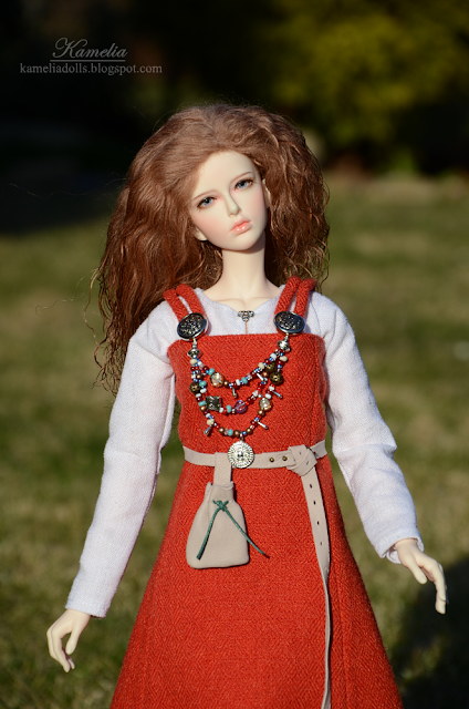 Apron dress for 1/4 scale doll