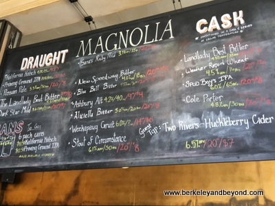 beer board at Magnolia Gastropub & Brewery in San Francisco, California