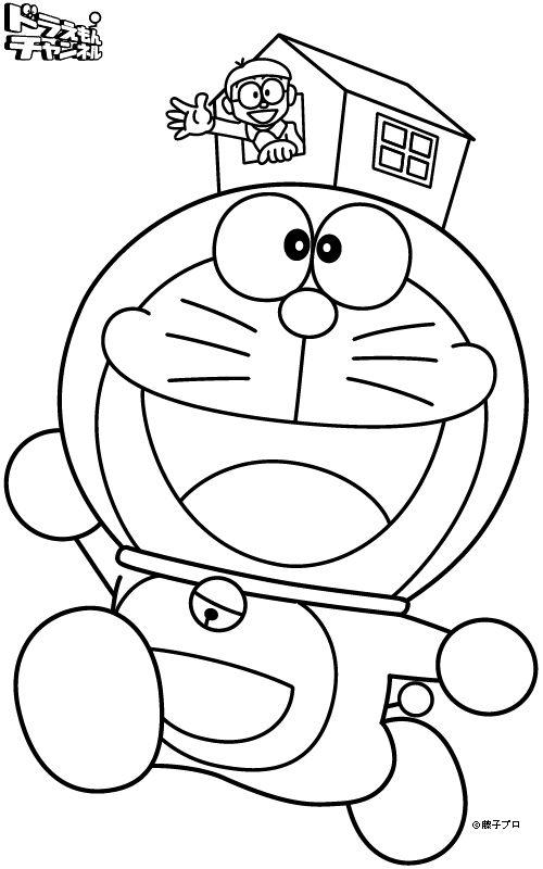 Tranh cho bé tô màu Doraemon đội mũ hình ngôi nhà