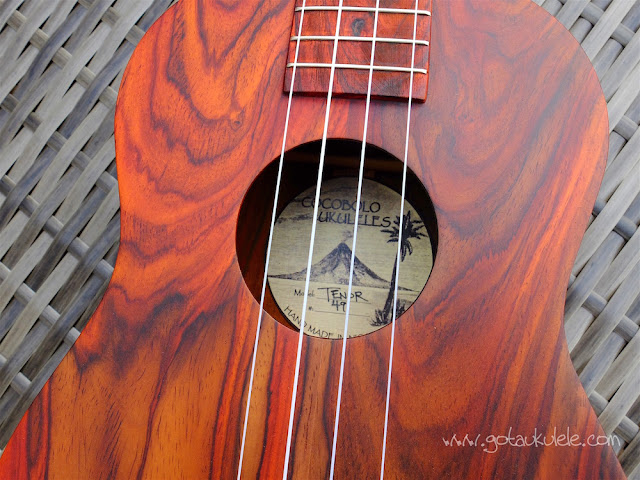 Cocobolo tenor ukulele soundhole