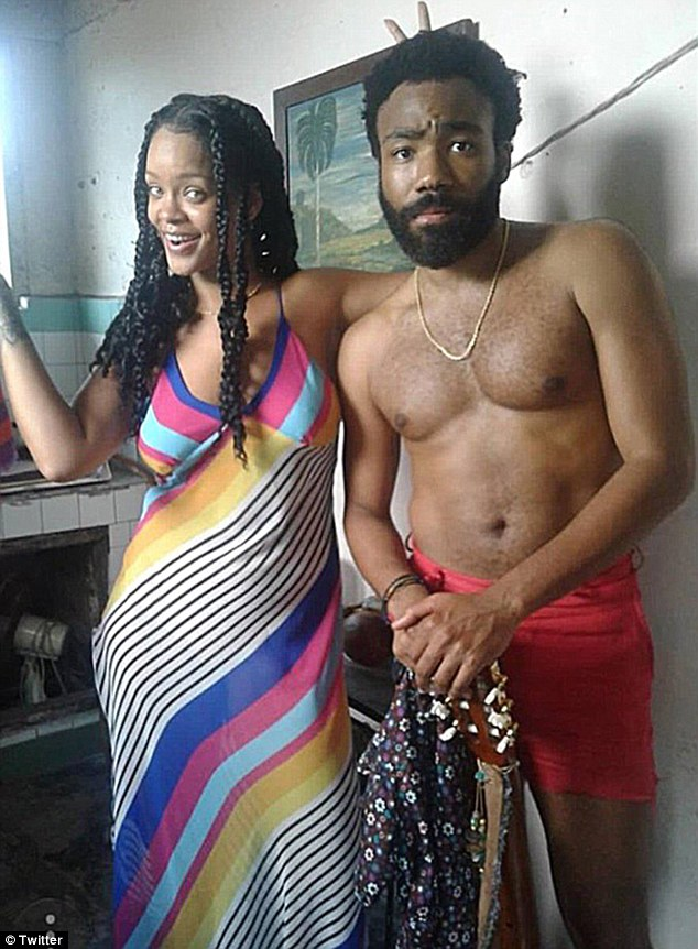 Rihanna and shirtless Donald Glover appear together in photo