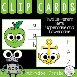 Alphabet Clip Cards Literacy Center at TpT