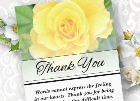 yellow rose vertical custom vertical thank you card design