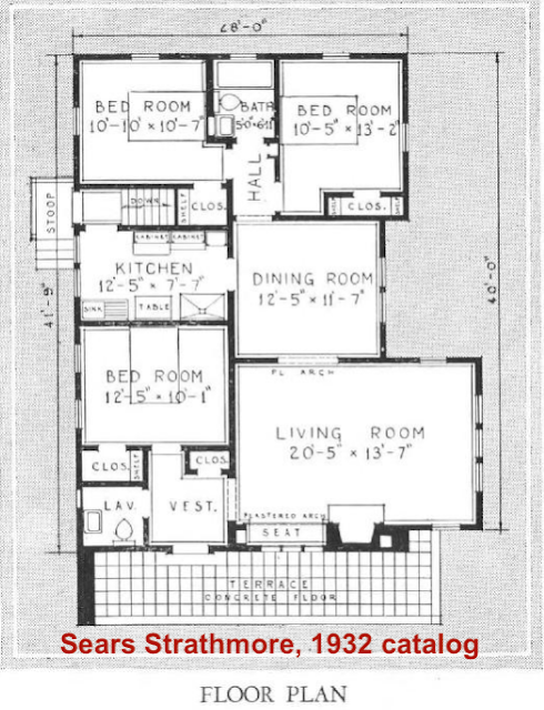 floor plan for Sears Strathmore in the 1932 Sears Modern Homes catalog