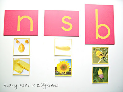 Beginning Letter Sounds with Yellow Objects Sorting Activity with Free Printable
