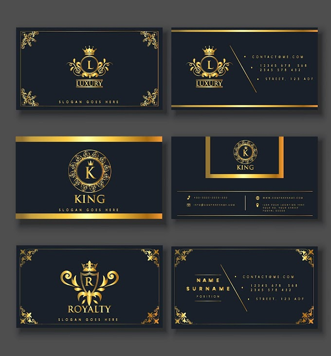 Business card templates elegant luxury royal elements decor Free vector