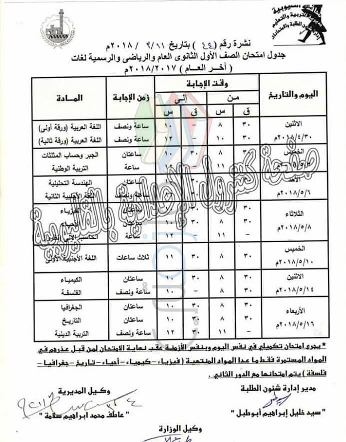 جدول مواعيد امتحانات 2018 الترم الثاني محافظة القليوبية