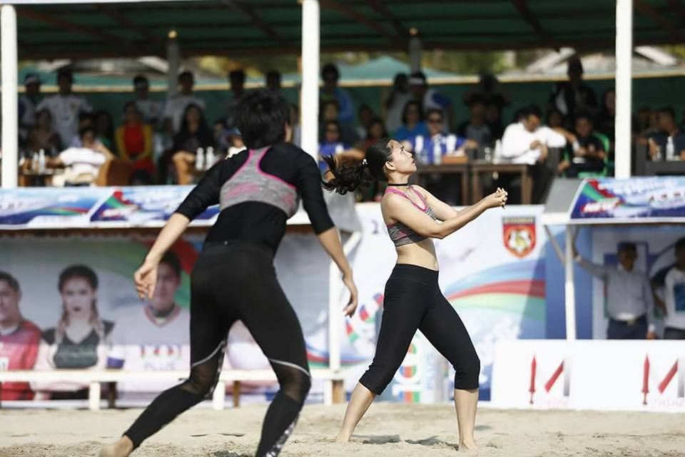 Aye Myat Thu Plays Beach Volleyball in Ngwe Saung Beach