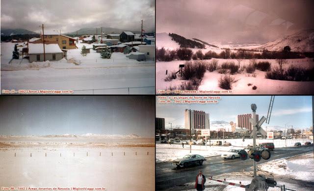 Cenas de Nevada e neve rumo à California