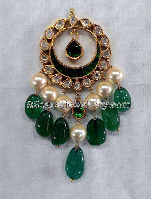 Emerald Stylish Jhumkas and Maang Tikka