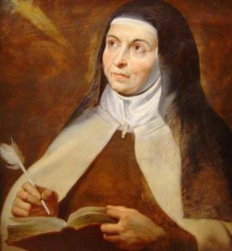 Imagen de Santa Teresa de Avila con su pluma en la mano