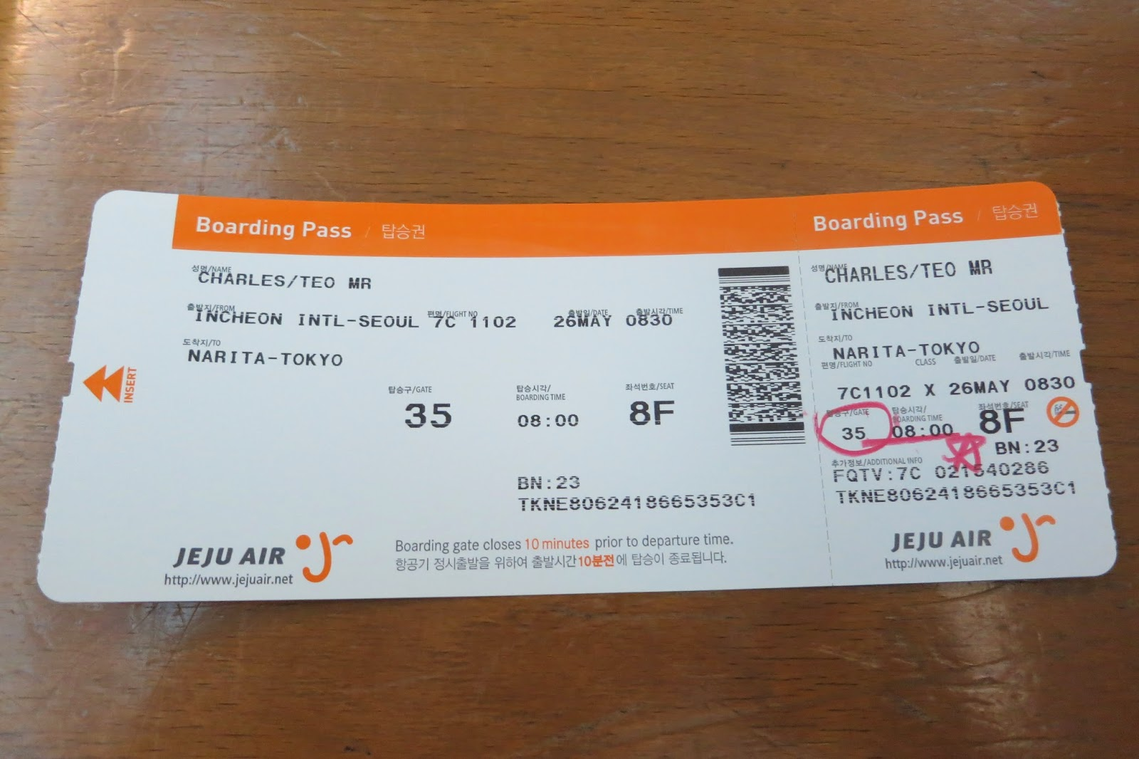 Charles Ryan S Flying Adventure Flying On Jeju Air From