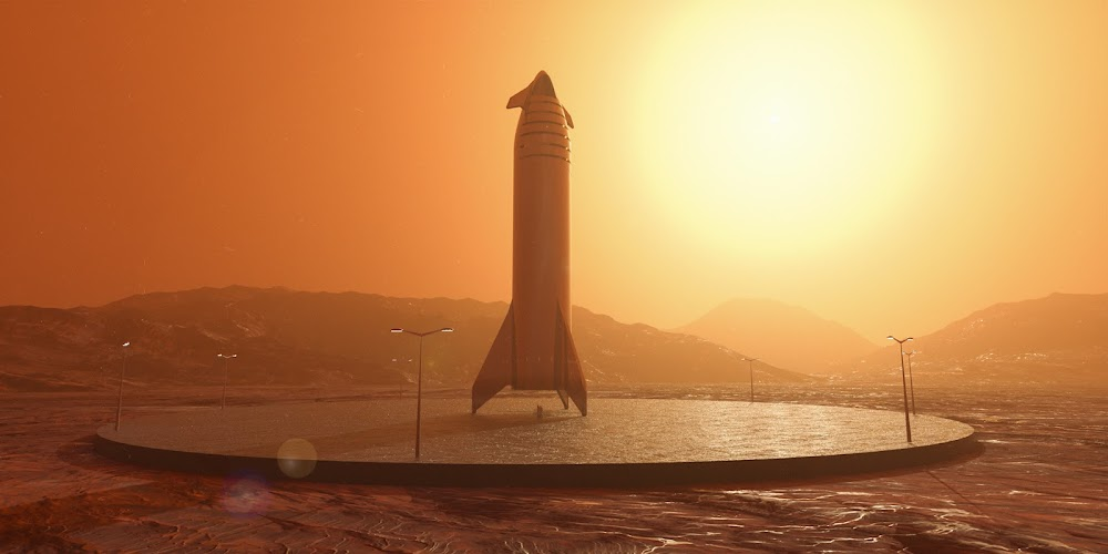 SpaceX Starship on a landing pad on Mars by Charlie Burgess