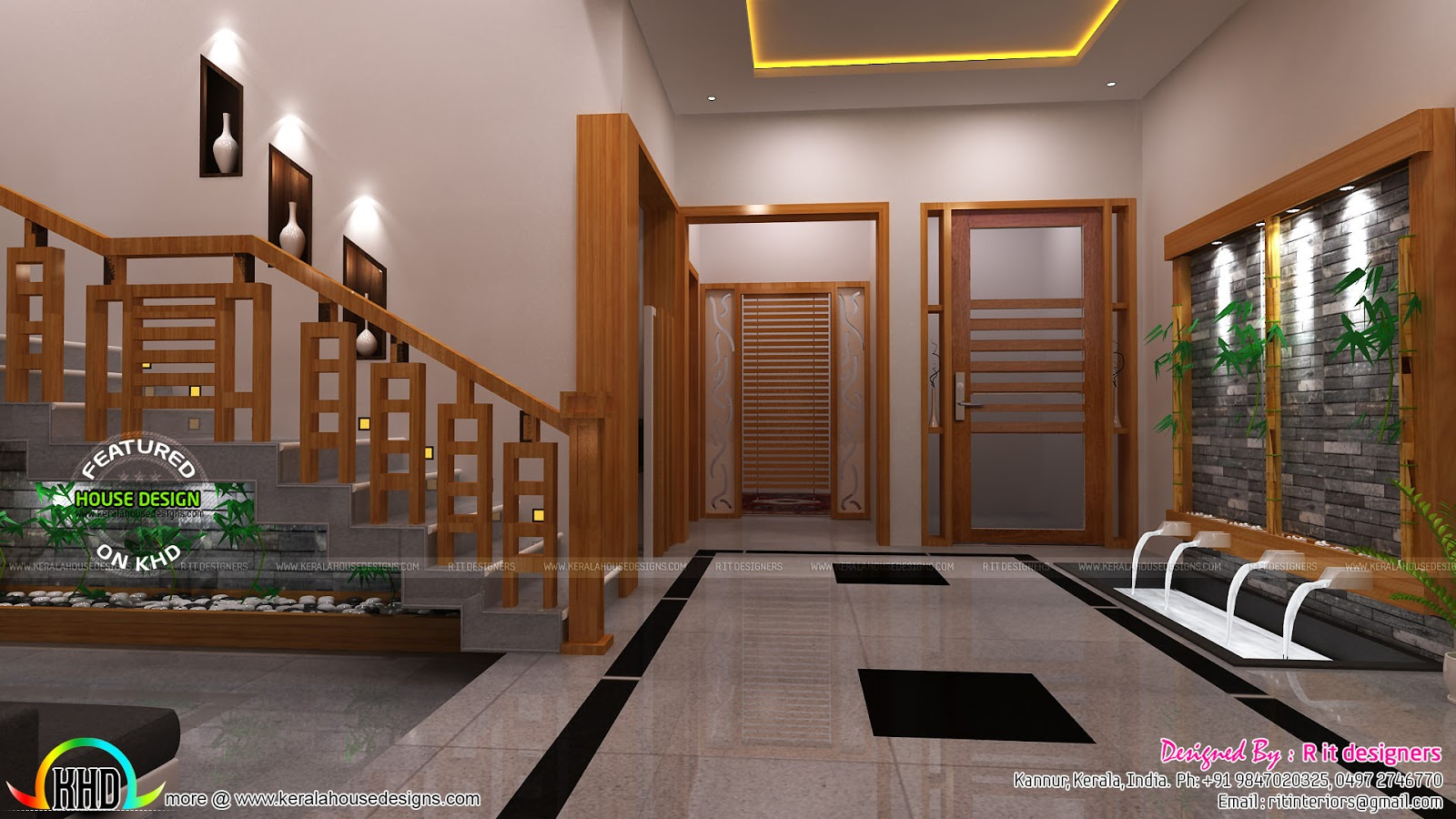 Modular kitchen living bathroom and foyer kerala home for Living room interior in kerala