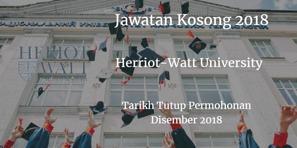 Jawatan Kosong HERIOT-WATT UNIVERSITY MALAYSIA Disember 2018