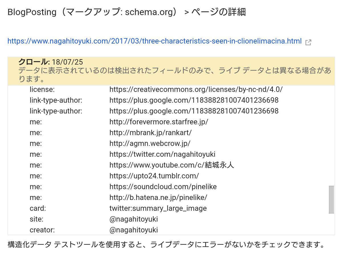 """Search Consoleの構造化データに表示された些細な日常の記事の「rel=""""me""""」の項目"""