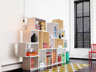 lively wooden modular shelving unit designing ideas and long rectangle pottery rug plus black shutter