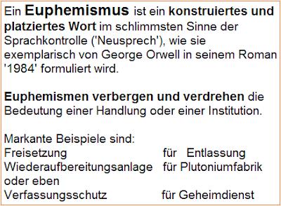 Definition Euphemismus, Beispiele Euphemismus, Neusprech, Orwell 1984