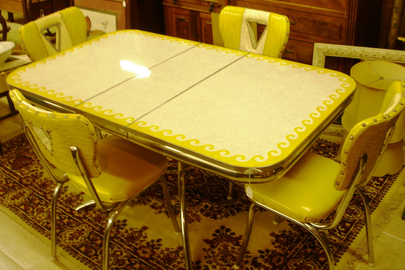 1950 s yellow formica table and chairs shower chair for elderly baron von balsiger 39s antiques fantastic 50 dinette set