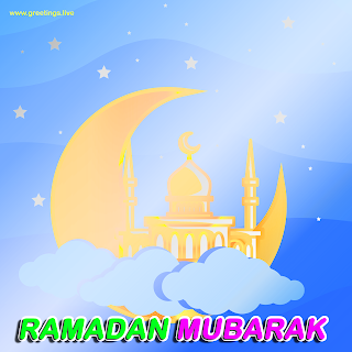 Ramadan mubarak 2019 greetings crescent moon clouds mosque