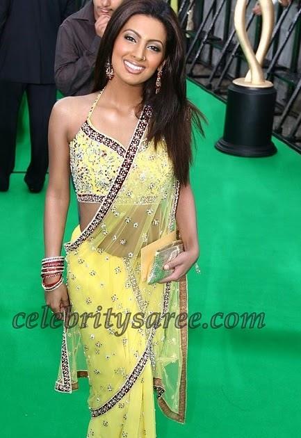 Geeta Basra In Lemon Yellow Transparent Sari Saree