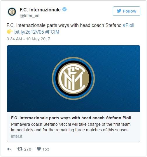 Inter Milan Resmi memecat pelatih Stefano Pioli