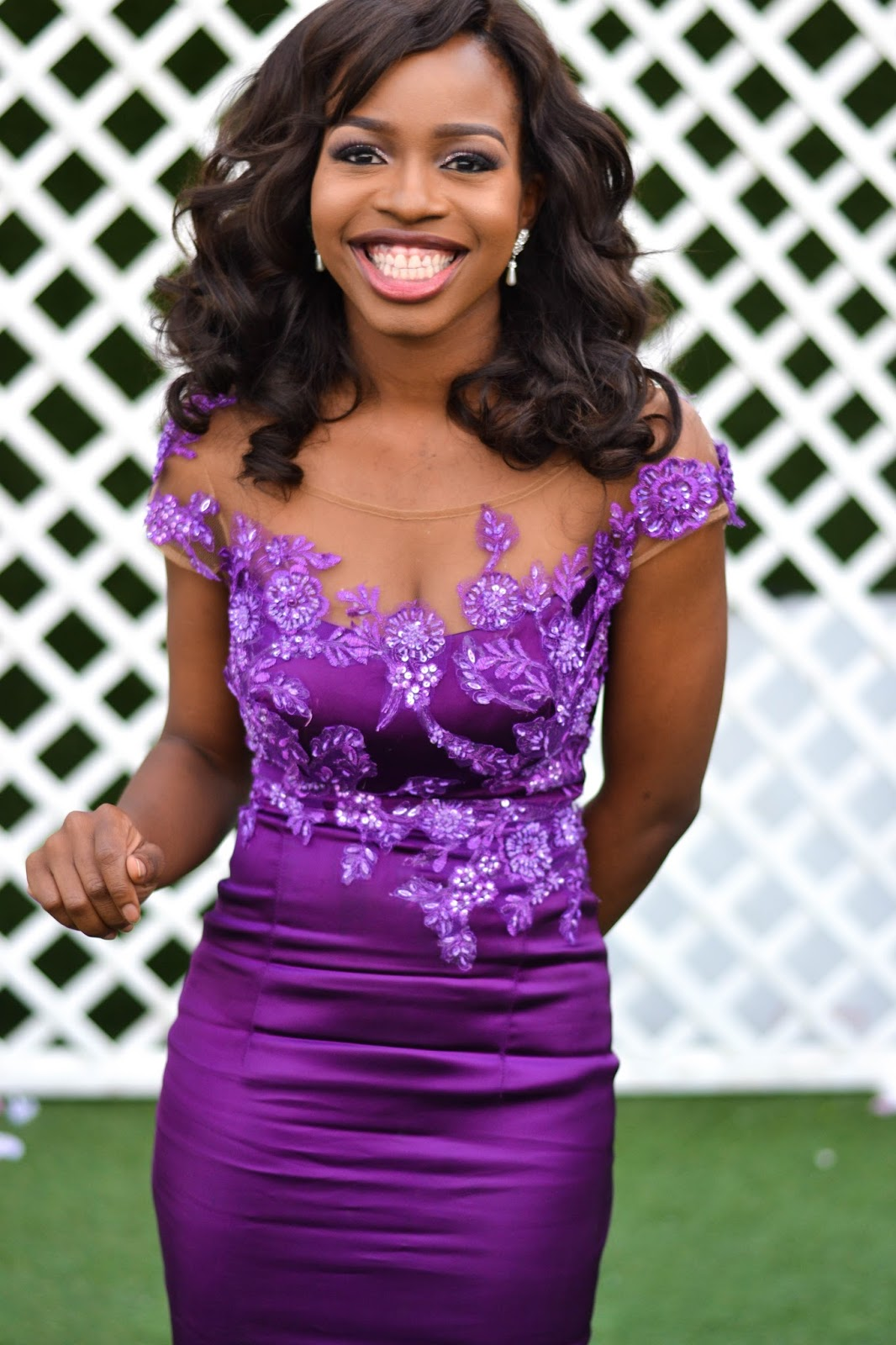 Sequinned Purple Bridesmaid Dress