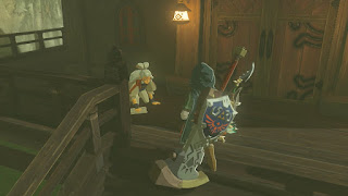 Paya washing the deck as link looks on legend of zelda breath of the wild screenshot