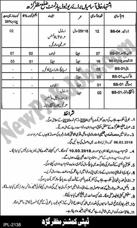 Revenue Department Muzaffargarh Latest Jobs 2018 (73 Vacancies)