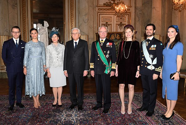 Queen Silvia, Crown Princess Victoria, Prince Daniel, Prince Carl Philip, Princess Sofia and Laura Mattarella at a state dinner