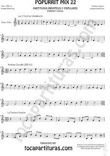Partitura de Saxofón Alto y Sax Barítono  Yankee Doodley, Las 3 hojitas, La Pastora Popurrí Mix 22 Sheet Music for Alto and Baritone Saxophone Music Score