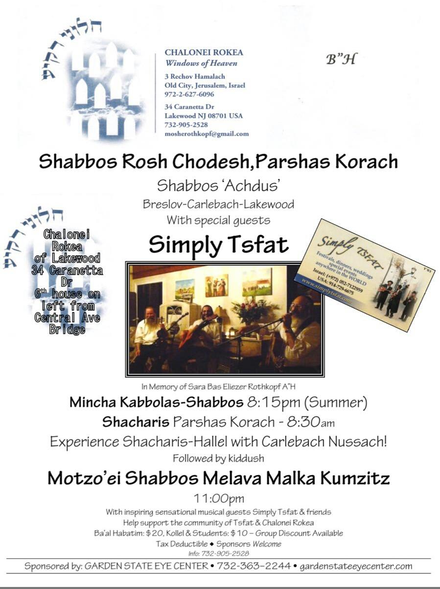 Shabbos Achdus Shabbos Rosh Chodesh Parshas Korach
