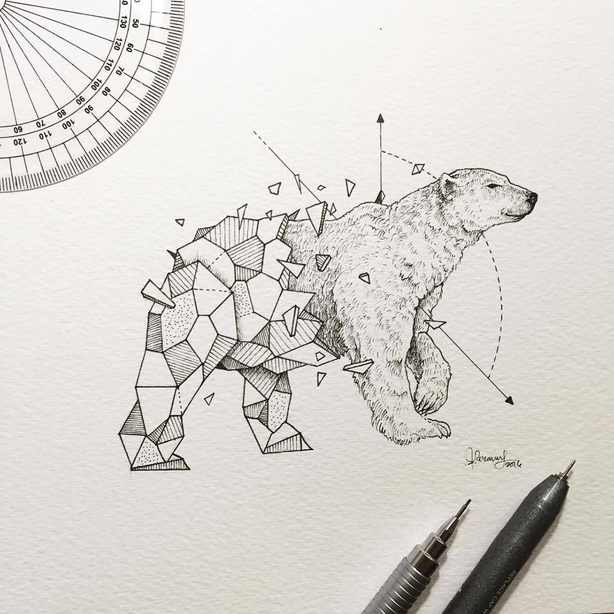 08-White-Polar-Bear-Kerby-Rosanes-Geometry-Coupled-with-Detailed-Drawings-of-Animals-www-designstack-co