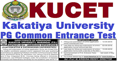 KUCET 2016 KUPGCET Notification, Online Application Exam Date, Fee, Hall Tickets, Results, Web counselling, web options