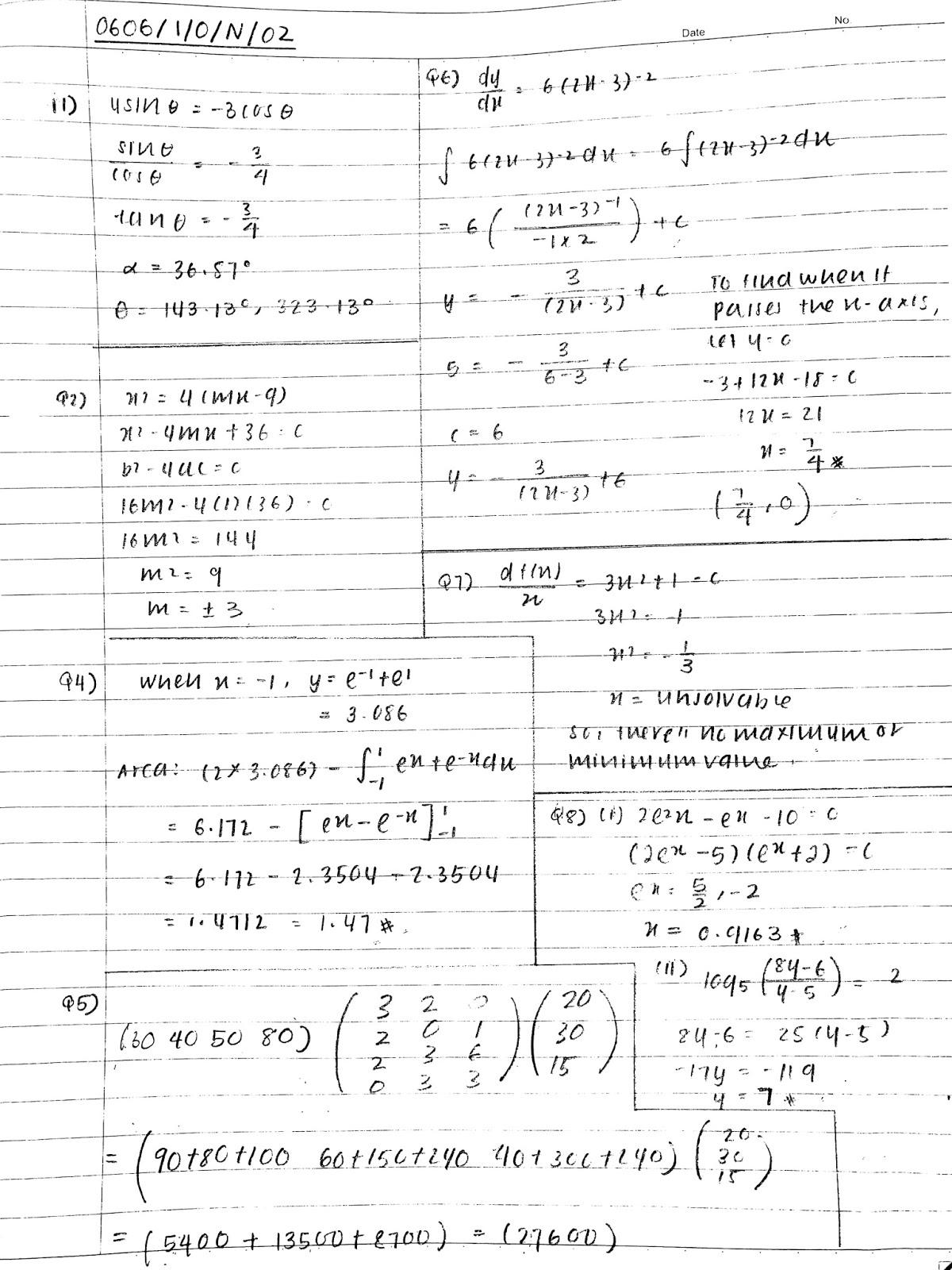 Maths Igcse Paper 2 November 1999 mark scheme