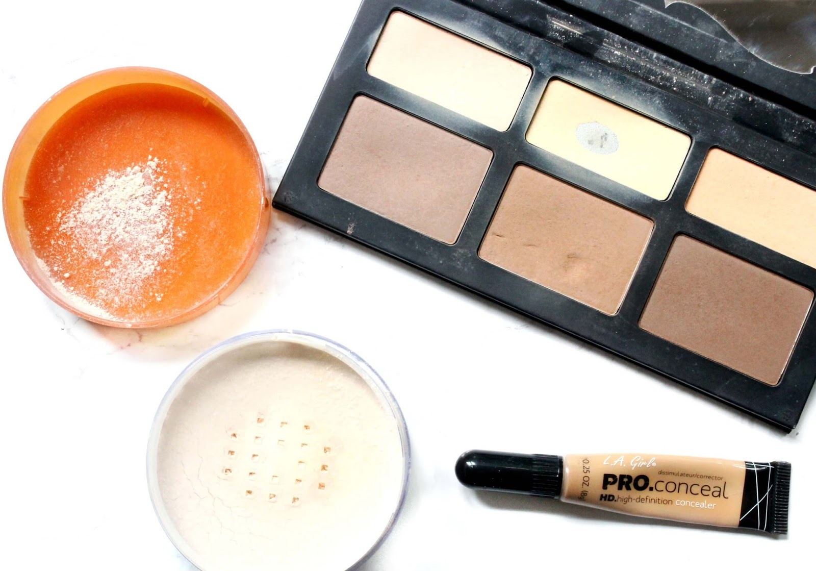 coty airspun loose powder, kat von d shade and light palette, la girl pro conceal HD concealer in pure beige