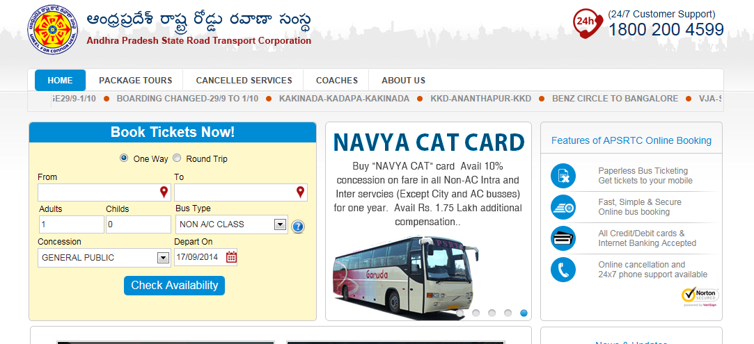 State Bus Routes,Fare ,Schedule information online: APSRTC ...