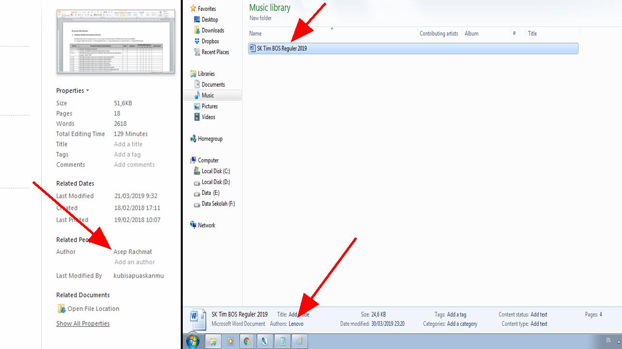 Cara Menghilangkan/mengganti/melihat nama Author di Microsoft Word
