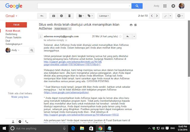 email pemberitahuan adsense disetujui